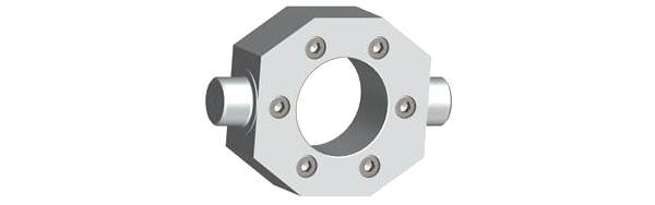 Mounting elements for installing component parts on a machine can be circular, rectangular, or trunnion flanges. A trunnion flange allows free, flexible movement around the transverse axis and can transmit very high longitudinal forces. With the appropriate clevis brackets, pivot bearings are easily integrated into the machine.