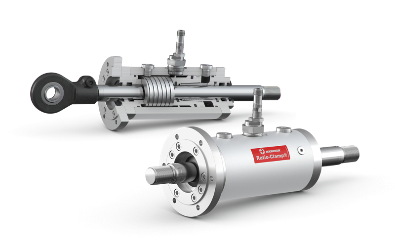 Realiable hydraulic cylinder rod lock: Wherever power failures or malfunctions pose a risk to the safety of people or machinery, Hänchen's hydraulic clamping system Ratio-Clamp® is there to save the day.