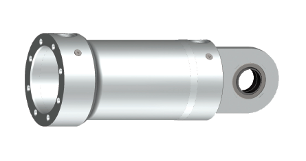 Round-head design, inseparably welded to the cylinder mounting. Drilled ports permit a space-saving installation with many options for adjustment to various applications.